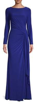 Vince Camuto Twisted-Front Long-Sleeve Gown