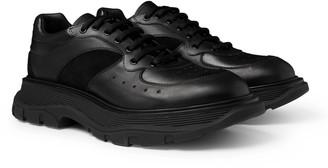 Alexander McQueen Tread Slick Suede-Trimmed Leather Sneakers