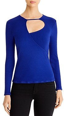 Red Haute Ribbed Cutout Top