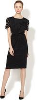 Silk Twist Front Embellished Sleeve Dress
