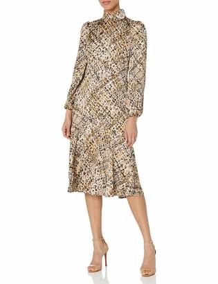 Maggy London Women's Leopard Plaid Print Collar Neck Long Bishop Sleeve midi Dress