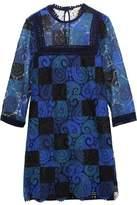 Sea Printed Guipure Lace Mini Dress