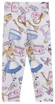 MonnaLisa White Alice in Wonderland Print Leggings