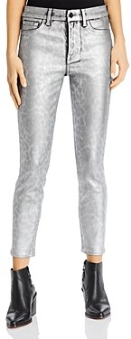 7 For All Mankind Jen7 by Coated Skinny Ankle Jeans in Silver Leopard