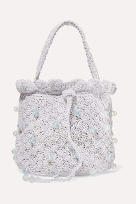 Suryo - Bucket Of Ice Beaded Metallic Crocheted Tote - Silver