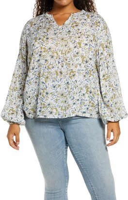 Caslon Print V-Neck Top