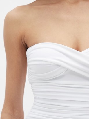 Norma Kamali Walter Strapless Ruched Swimsuit - White