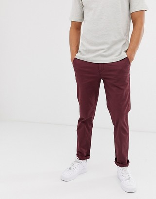 Selected straight chino in burgundy