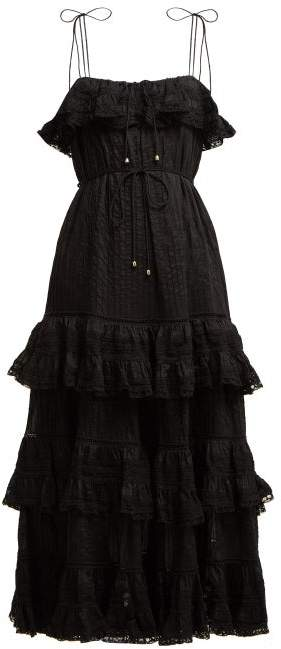 Zimmermann Juniper Pintuck Pleated Cotton Dress - Womens - Black
