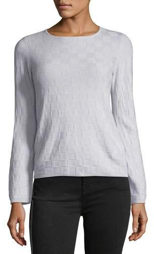 Armani Collezioni Crewneck Long-Sleeve Check Cashmere Sweater