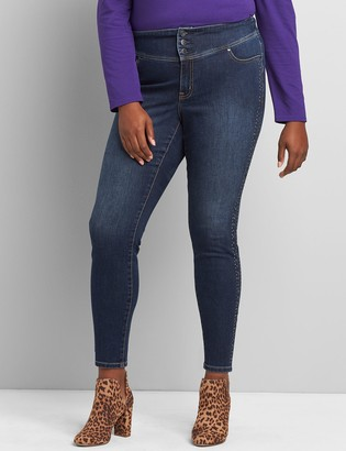 Lane Bryant High-Rise 3-Button Jegging - Side Stripe Embellishment