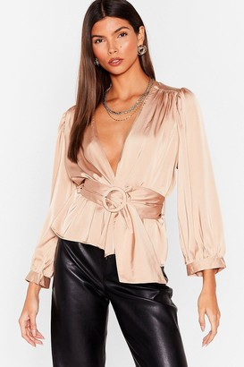 Nasty Gal Womens Bridge the Wrap Belted Satin Blouse - Champagne