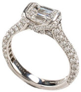Harry Winston Platinum Emerald Cut Diamond Pave Megumi Ring Sz 7.25 IN BOX