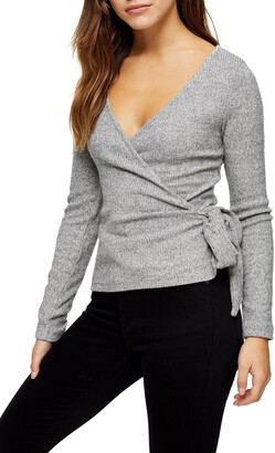 Topshop Ribbed Wrap Ballet Sweater