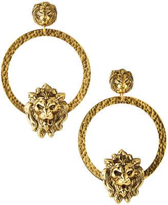 Yochi Lion Head Hoop Earrings