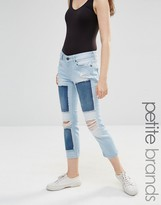 Noisy May Petite Scarlet Jeans With Patches