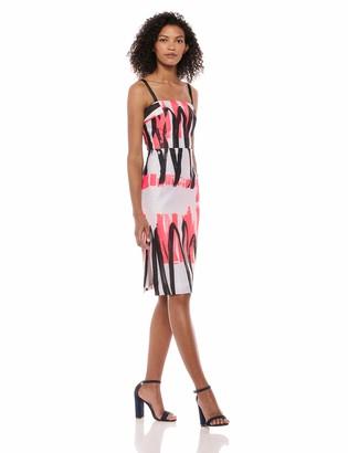 Milly Women's Modern Scribble Print Spaghetti Strap Straight Pencil Dress