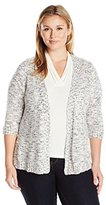 Notations Women's Petite 3/4 Sleeve Open Front Nep Sweater Cardigan