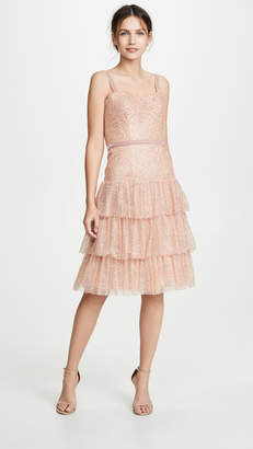 Marchesa Glitter Tulle Cocktail Dress