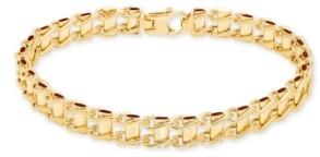 "Italian Gold Men's Railroad Track Link 8.5"" Bracelet in 10K Yellow Gold"