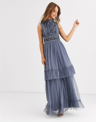 Frock and Frill high neck maxi dress with embellished detail-Blue