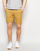 Asos Skinny Chino Shorts In Warm Camel