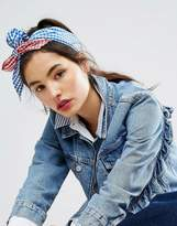 Asos Blocked Gingham Headscarf