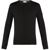 Saint Laurent Badge-appliqué Crew-neck Wool Sweater
