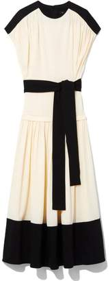 Proenza Schouler Shortsleeve Combo Midi Dress With Tied Waist