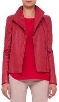 Akris Punto Asymmetric-Zip Leather Jacket, Cherry