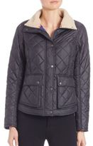 Barbour Cushat Faux Fur Collar Quilted Jacket