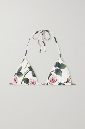 Dolce & Gabbana Floral-print Triangle Bikini Top - White