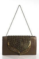 Deepa Gurnani Brown Leather Sequin Detail Magnet Closure 2 Pocket Clutch Handbag