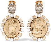 Oscar de la Renta Gold-plated, Crystal And Faux Pearl Clip Earrings - one size