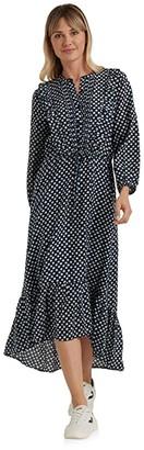 Lucky Brand Long Sleeve Button-Up Tie Waist Ruffle Dawn Maxi Dress (Navy Multi) Women's Clothing