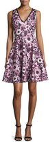 Erin Fetherston Sleeveless Floral V-Neck Fit-and-Flare Dress, Wine/Multicolor