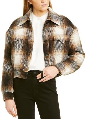 AVEC LES FILLES Plaid Western Cropped Wool-Blend Jacket