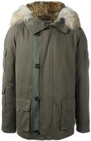 Yves Salomon collar trimmed zip up parka coat