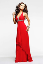 Faviana Beaded Halter High-Low Chiffon Long Evening Gown 6916