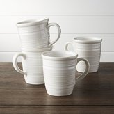 Crate & Barrel Farmhouse White Mugs, Set of 4