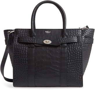 Mulberry Small Bayswater Croc Embossed Calfskin Leather Satchel