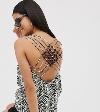Asos Tall ASOS DESIGN Tall cami with beaded lattice back in zebra animal print