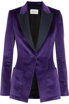 Pallas Satin-trimmed Cotton-velvet Blazer - Purple