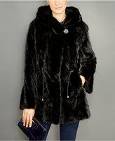 The Fur Vault Mink Fur Hooded Drawstring Jacket