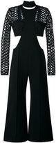 Self-Portrait lace trim jumpsuit - women - Polyester/Spandex/Elastane - 10