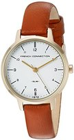 French Connection Women's Quartz Metal and Leather Watch, Color:Brown (Model: FC1256TG)