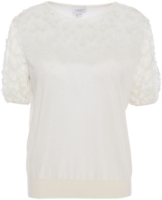 Giambattista Valli Embroidered Tulle-paneled Cashmere And Silk-blend Top
