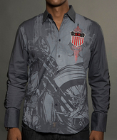 Rebel Spirit Charcoal 'RS' USA Shield Embroidery Button-Up - Men's Regular