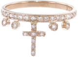 Jacquie Aiche Diamond Cross Stacking Ring - Rose Gold