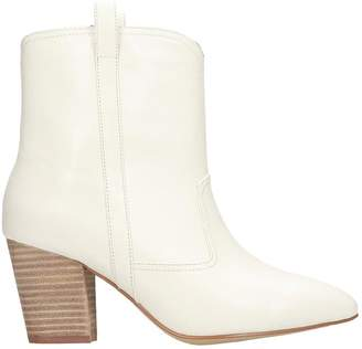Bibi Lou Texan Ankle Boots In White Leather